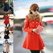 Women Trench Coat Ladies Winter Fur Collar Wool Warm Double Breasted Coat Hot