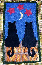 MIDNITE & CHARCOAL CATS Primitive Rug Hooking KIT WITH #8 CUT WOOL STRIPS