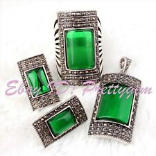 Rectangle Green CZ Crystal Antiqued Tibetan Silver Jewelry Pendant Earrings Ring