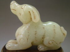 Antique Old Chinese Nephrite Old jade Carved Statue/Pendant *LUCK-DOG*