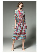 Fashion Women round neck sleeve  printed Slim chiffon long paragraph beach dress