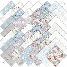 "Moda Charm Packs Forest Frost Glitter Silver Metallic Charm Pack 42 5"" Squares"