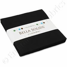 "Moda Charm Packs Bella Solids Black Charm Pack 42 5"" Quilting Quilt Squares Kit"