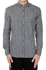 AGLINI New Men Black White Checked Long Sleeve Shirt Cotton Made in Italy