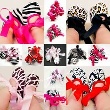 Infant Baby Toddler Girl Dot Damask Giraffe Leopard Print Silk Ribbon Shoe 0-18M