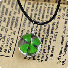 Real Green Lucky Shamrock Four Leaf Clover Round Charm Pendant Necklace Friends