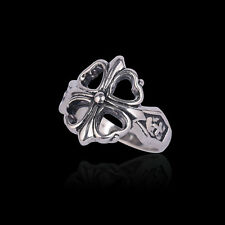 Vintage Biker Punk Men Four Leaf Clover Lucky Silver Stainless Steel Ring Band