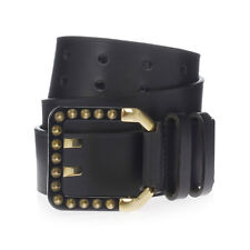 DSQUARED2 D2 New Woman black Studded Gold tone Buckle Leather Belt Made ITALY