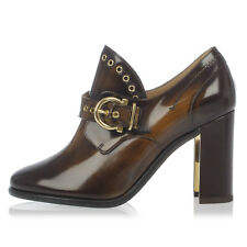 SALVATORE FERRAGAMO New Woman Brown Leather Heel Shoes Made in ITALY