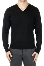 DOWNSHIFTING New Men black V Neck Sweater Wool Extrafine Cashmere Pullover NWT