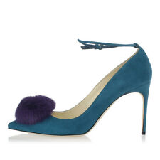 BRIAN ATWOOD New Woman Blue Suede Leather Pumps Made in ITALY