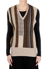 ETRO New women beige Printed Sleeveless Sweater Wool V Neck gilet Made Italy