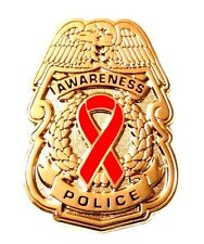 Red Awareness Ribbon Pin Police Badge Security Sheriff Cancer Causes Gold New