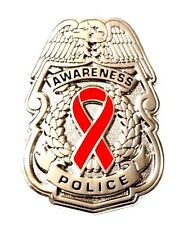 Red Awareness Ribbon Pin Police Badge Security Sheriff Cancer Causes Silver New