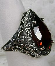 8ct Tear Drop *Garnet* Victorian Filigree Sterling Silver Ring (Made To Order)