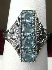 *Blue-Aquamarine* 4-Gem Sterling Silver Edwardian Filigree Ring Size: Any/MTO
