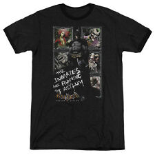 Batman Aa Running The Asylum Mens Adult Heather Ringer Shirt Black