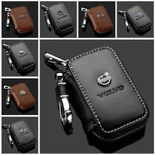 Multi-Brand Women Men Genuine Cow Leather Zip Car Key Bag Chain Ring Holder Case