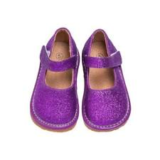 Girl's Leather Toddler Purple Sparkle Mary Jane Squeaky Shoes Sizes 1 to 7