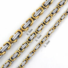 MEN 5/6/8MM Square Silver Gold Tone Stainless Steel Byzantine Box Chain Necklace