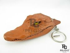 PELGIO Real Genuine Crocodile Alligator Head Skin Leather Keyring Keychain Brown