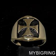 STUNNING MEDIEVAL BRONZE MENS RING IRON CROSS KNIGHT COAT OF ARMS SEAL ANY SIZE