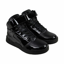 Radii Segment Mens Black Patent Leather High Top Lace Up Sneakers Shoes