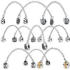 Solid European Safety Chain Charm for DIY Female Silver Bracelet Bangle Necklace