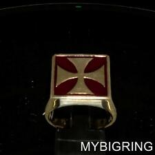 SQUARE BRONZE MENS MEDIEVAL KNIGHT RING IRON CROSS WITH BURGUNDY ENAMEL ANY SIZE