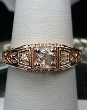 White Topaz Art Deco Sterling Silver & Rose Gold Filigree Ring Size: Any/MTO