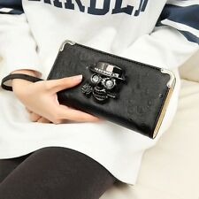 New Arrival Women's Punk Skull Head Zip Around Continental Long Wallet New