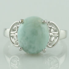 Larimar Gemstone 925 Sterling Silver Customized Solitaire 5.79 ctw Ring GSR1096