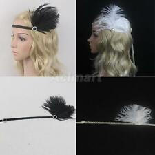 Vintage Feather Headpiece 1920s Great Gatsby Crystal Rhinestone Flapper Headband