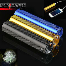 3 Color CREE R5 LED Mini USB Rechargeable Flashlight Torch Power Bank for Phone