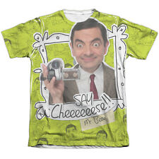 Mr Bean Say Cheese (Front Back Print) Mens Sublimation Poly Cotton Shirt White