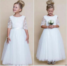 New White Flower Girl Dress Holy Communion Party Pageant Wedding Easter Dresses