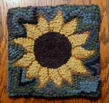 SUNFLOWER Primitive Rug Hooking  KIT WITH #8 CUT WOOL STRIPS