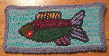 TROPICAL FISH Beginner  Primitive Rug Hooking Kit with #8  cut wool strips