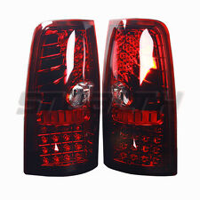 99-06 Chevy Silverado/99-02 GMC Sierra Red/Clear LED Tail Lights Pair