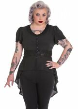 NEW PLUS SIZE BLACK STAR MOON BLOUSE LONG TOP 18 20 22 SHEER STEAMPUNK LACE GOTH