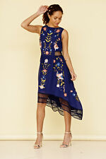 NAVY EMBROIDERED DRESS BIRD FLORAL SUMMER CROCHETED FROCK & FRILL 'ALIA'