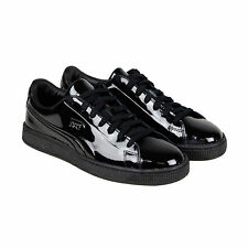 Puma Basket Classic Patent Emboss Mens Black Leather Lace Up Sneakers Shoes