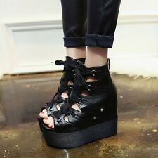 Punk Women Black Creeper Lace Up Wedge Platform Sneaker Casual Goth Shoe