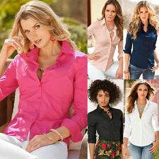 Women's Ladies Summer Long Sleeve Shirt V Neck Button Down Slim Fit Blouse Tee