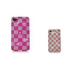 For Apple iPhone 4 4S Checker Rhinestone Diamond Bling Hard Snap-in Case Cover