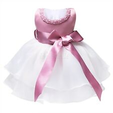 Baby Kids Princess Pageant Bridesmaid Flower Girls Party Wedding Bow Dress 0-9 M