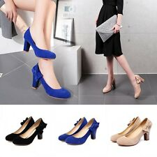 2017 Women Faux Suede Chunky Heels Bow Platform Pumps Mary Jane Shoe Plus Size