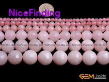 Faceted Pink Jade Gemstone Round Loose Stone Beads For Jewelry Making Strand 15""
