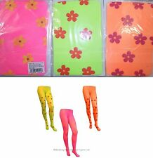 Ladies Neon Flower Power Tights 60s 70s Groovy Hippie Hippy Fancy Dress Costume