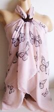 BUTTERFLY LARGE BEACH SARONG PAREO WRAP 9 COLOURS WITH FREE COCONUT SHELL BUCKLE